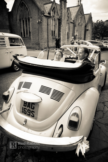 bride and groom vw beetle